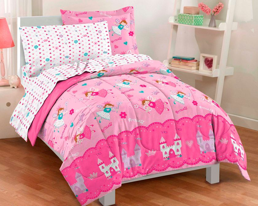 Princess Fairy Bedding for Little Girls Twin Bed in a Bag Ensemble