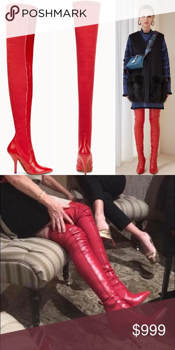 18e1e49ef2b Fendi Red Leather Cuissard Boots Fendi Red leather cuissard boots ...
