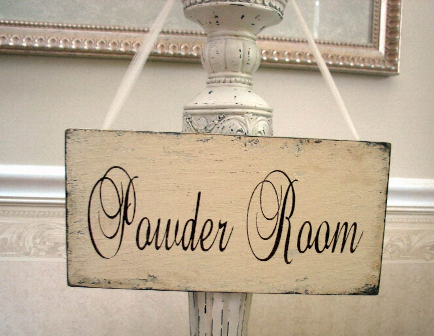POWDER ROOM Sign Bath Shabby Cottage Vintage Style By SignsByDiane, $29.00