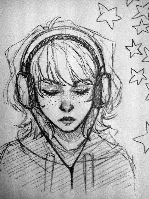 Girl Listening To Music On Headphones Sketches Headphones Art Art Sketches