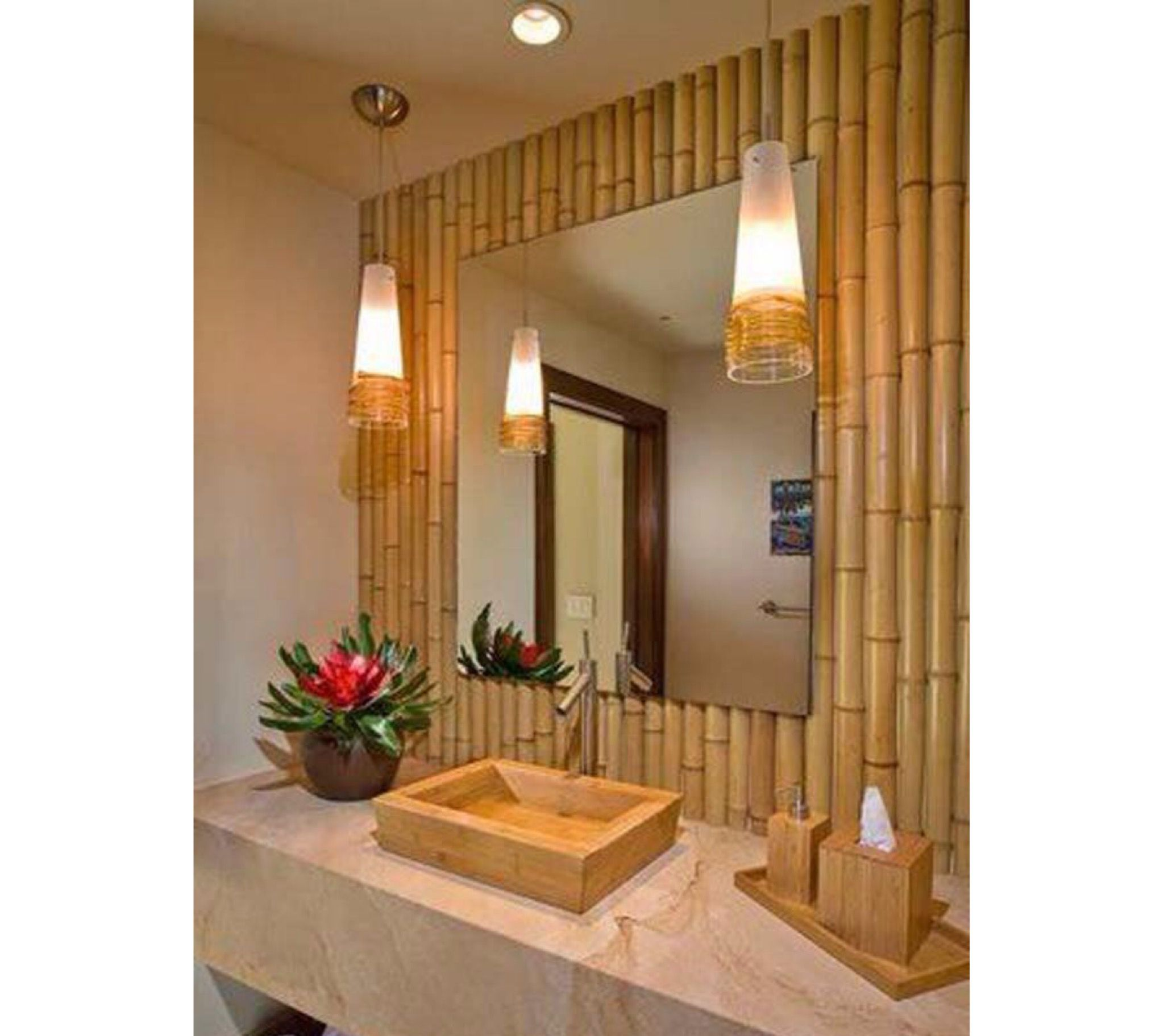 Add style to your bathroom with an accent wall made of bamboo❣   bicoastalsoutherngirl  southernbelle  blessed  realestate  design  dreamer   dreamhome ... 22b99c792e
