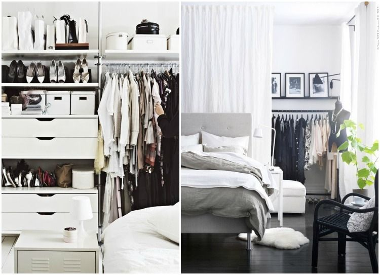 ikea open closet shelving the right side is a great idea. Black Bedroom Furniture Sets. Home Design Ideas