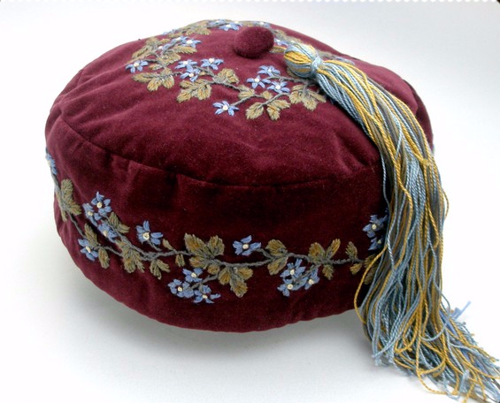 ddc430af8 Smoking Cap Victorian Style Handmade Embroidered With Tassel in 2019 ...