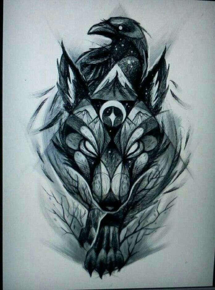the wolf and the raven art pinterest tattoo ideen wolf und raben. Black Bedroom Furniture Sets. Home Design Ideas