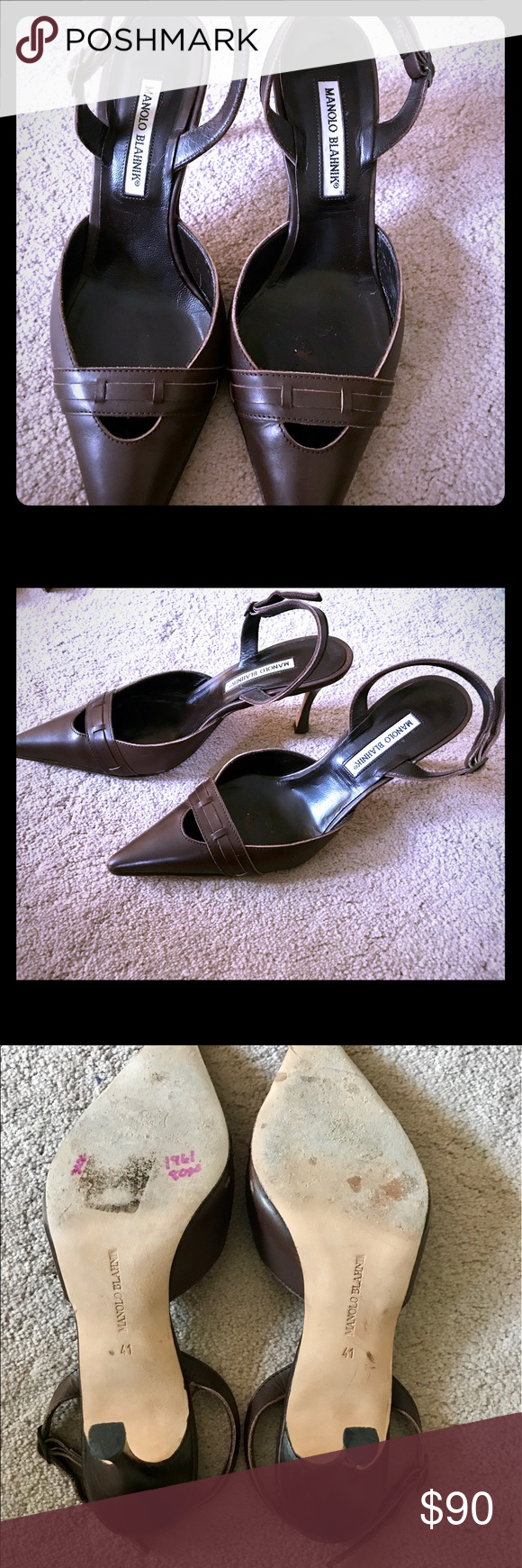 Manolo Blahnik heels! 100% authentic! Mint!! Adorable chocolate brown heels in mint condition! Perfect dressed up or down. Super comfortable. Only worn once. Manolo Blahnik Shoes