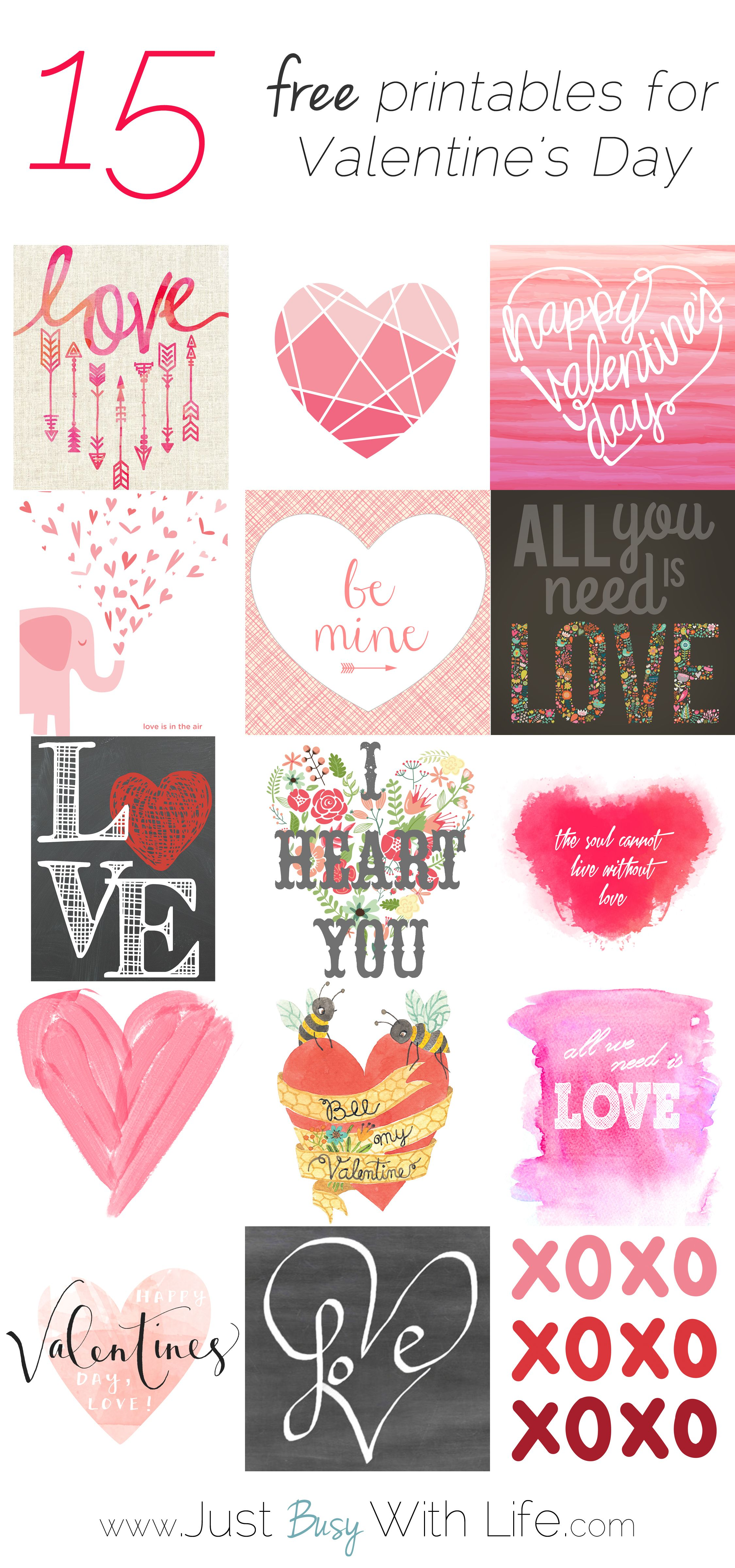 15 Free Valentineu0027s Day Printables | Just Busy With Life