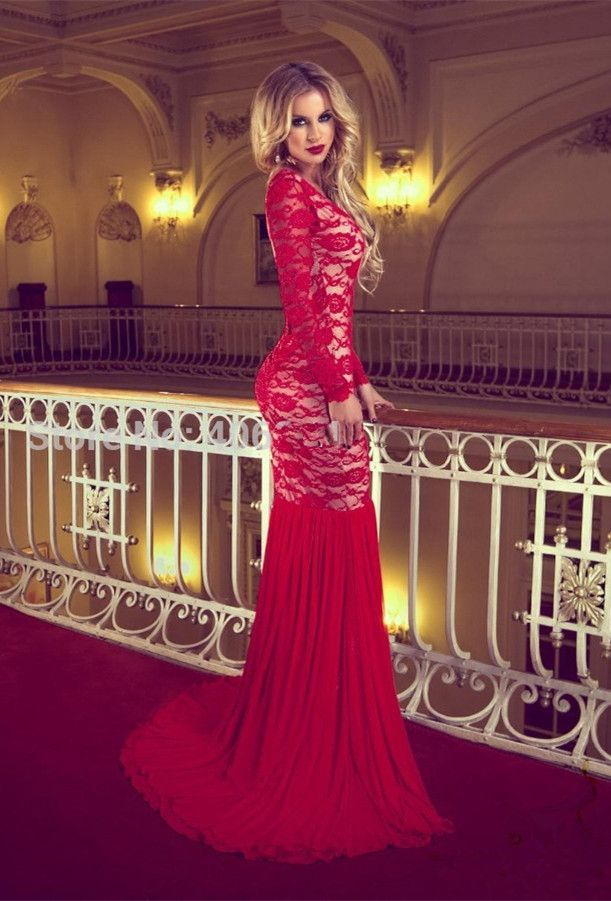 Sexy Red Long Sleeve Lace 2017 Prom Dresses Mermaid Long _2017 ...