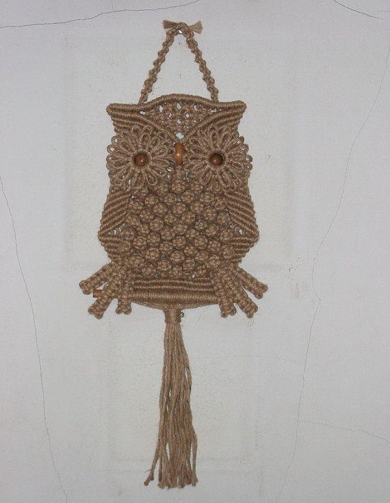 Macrame Owl with natural Jute   makramee