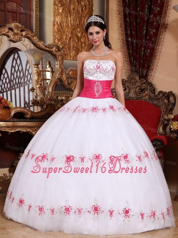 374dd23b708 Beautiful White and Hot Pink Sweet 16 Dress Strapless Taffeta and Tulle  Appliques Ball Gown