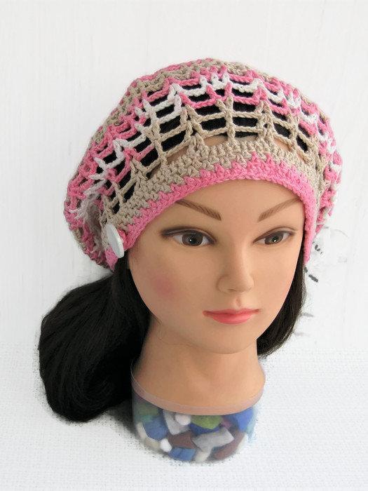 top brands run shoes official shop Summer beret hat womans Cotton knit dread tam Crochet lace ...