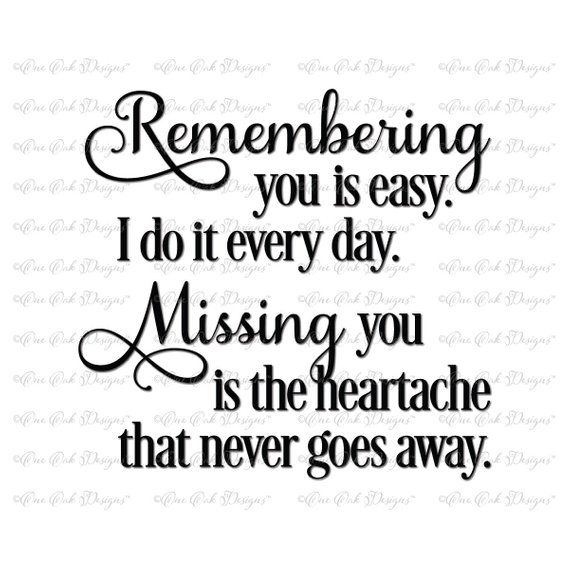 Remembering You SVG File svg dxf png pdf jpg for Cameo Cricut & other electronic cutting machines