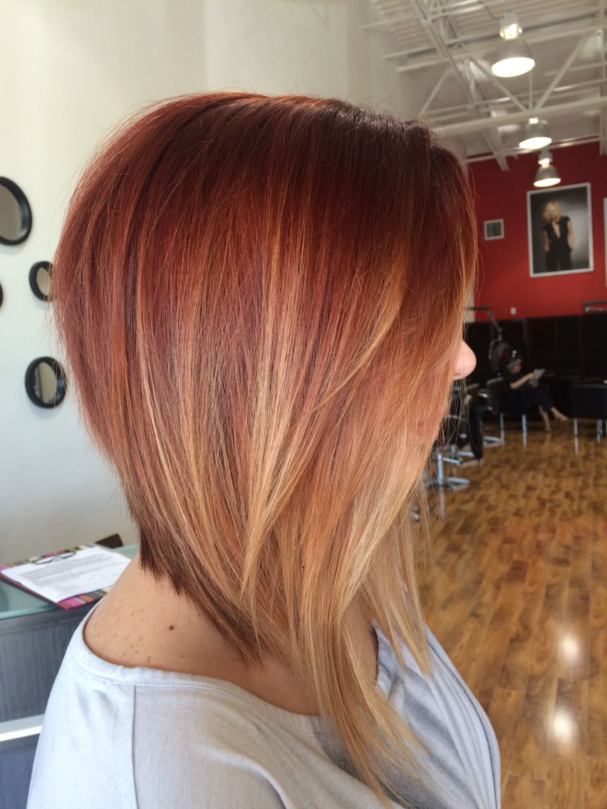 Dramatic inverted bob with red  ombre Gorg Hair  in 2019