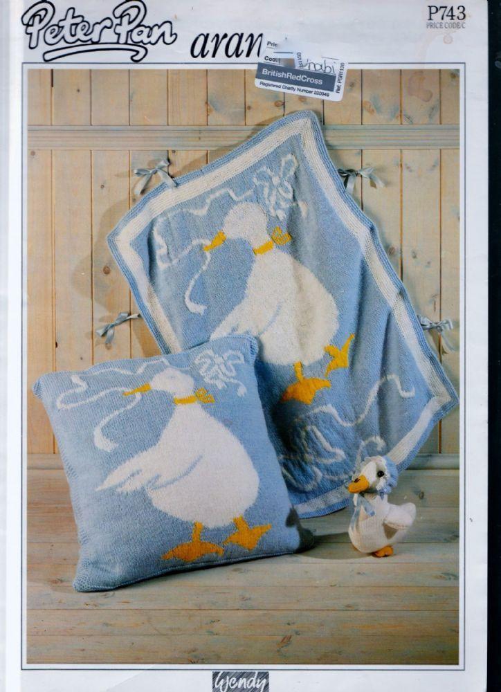 Digital Download PDF Vintage Knitting Pattern Baby's Afghan Blanket & Pillow P743