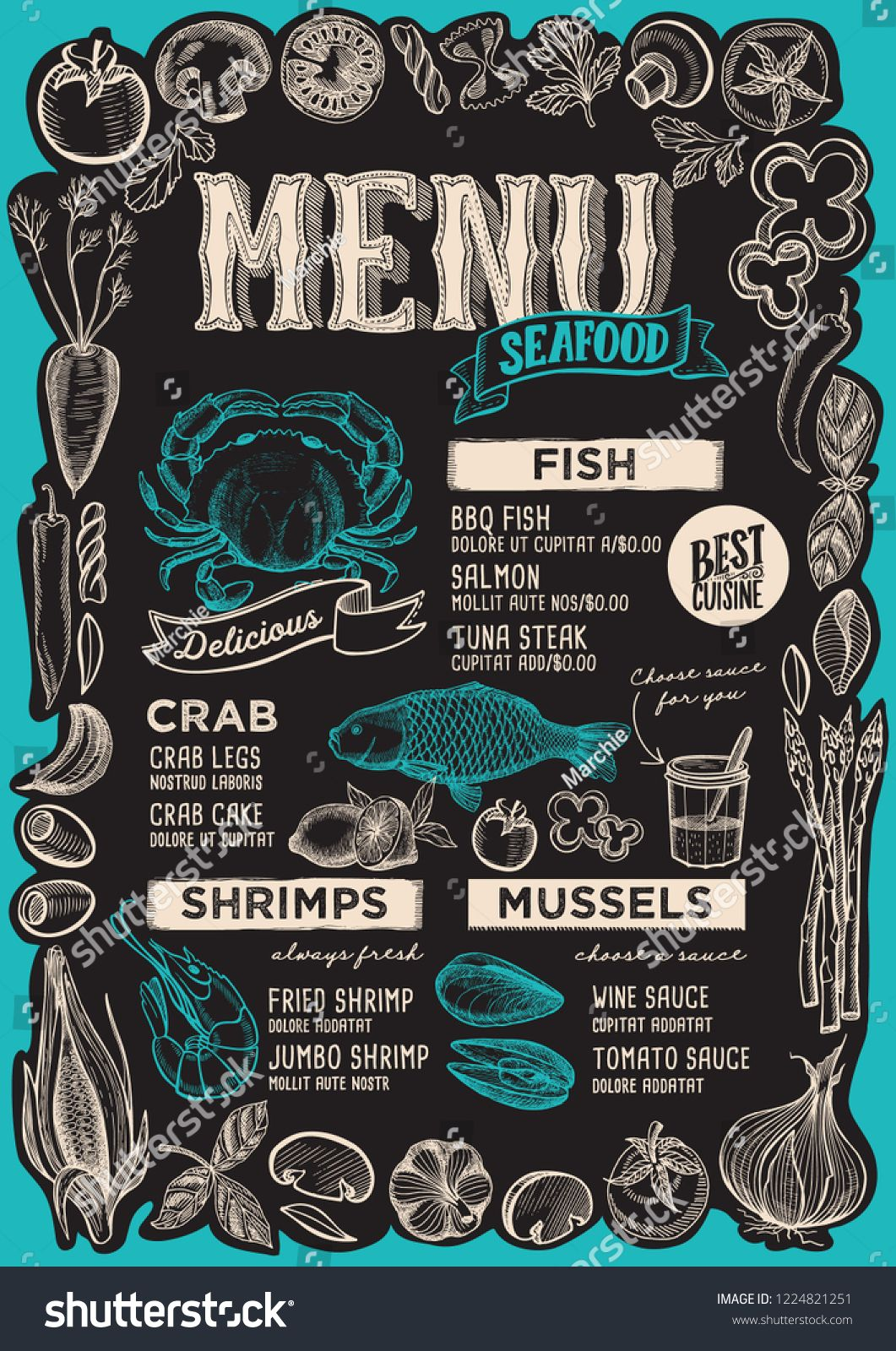 Seafood Menu Template For Restaurant On A Blackboard Background Vector Illustration Brochure For Food And Drink Cafe Design Seafood Menu Seafood Menu Template
