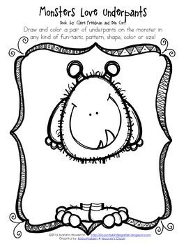 Free Monsters Love Underpants Activity Sheet Monster Theme