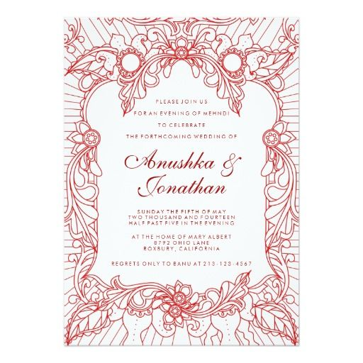 Red Mehndi Party Mehndi Invitation Pinterest Mehndi Party