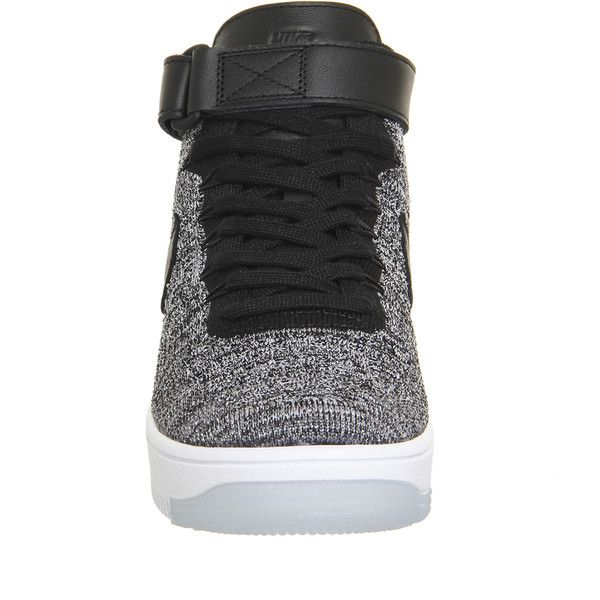 Nike Air Force 1 Mid Flyknit ($115) ❤ liked on Polyvore featuring shoes, sneakers, patent leather sneakers, black and white flyknit trainer, white and black shoes, woven sneakers and woven shoes