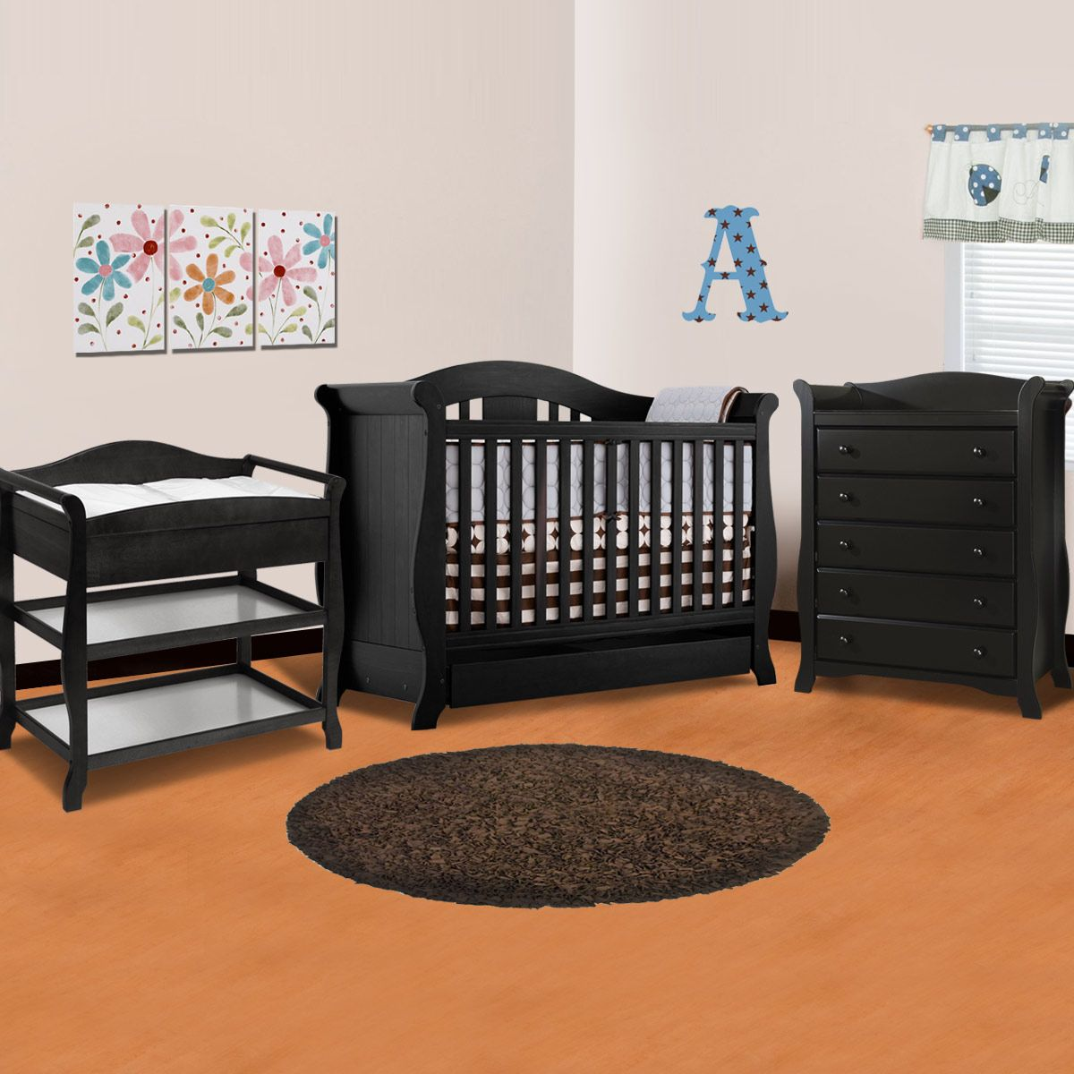 Storkcraft 3 Piece Nursery Set Vittoria Convertible Crib Aspen Changing Table And Avalon 5 Drawer Dresser In Black
