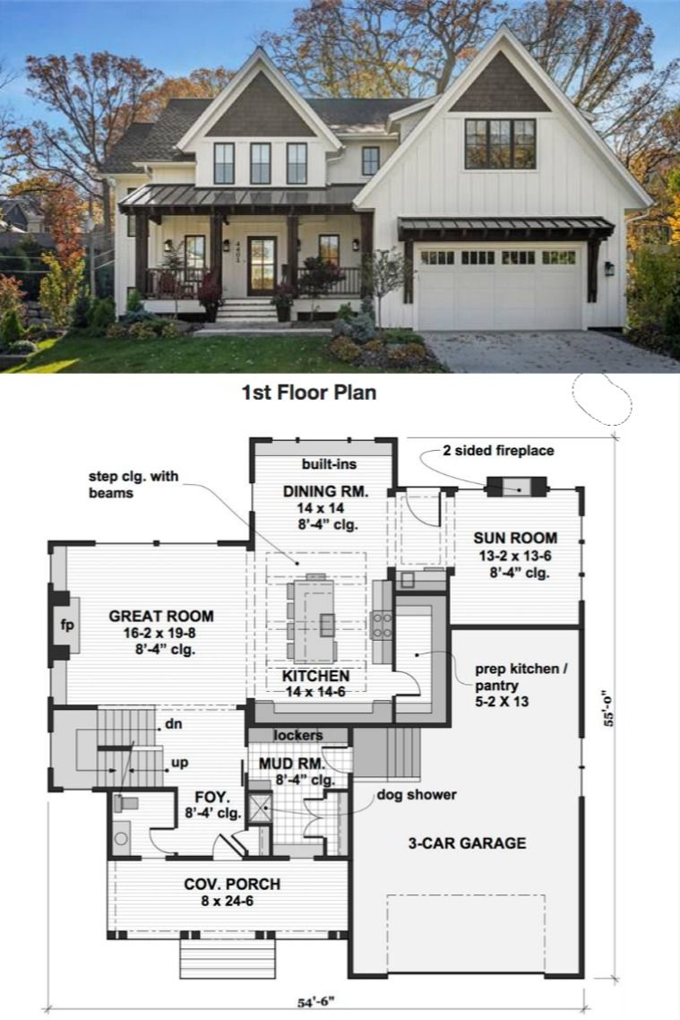 Modern Farmhouse House Plan 2001 #smallmodernfarmhouseplans