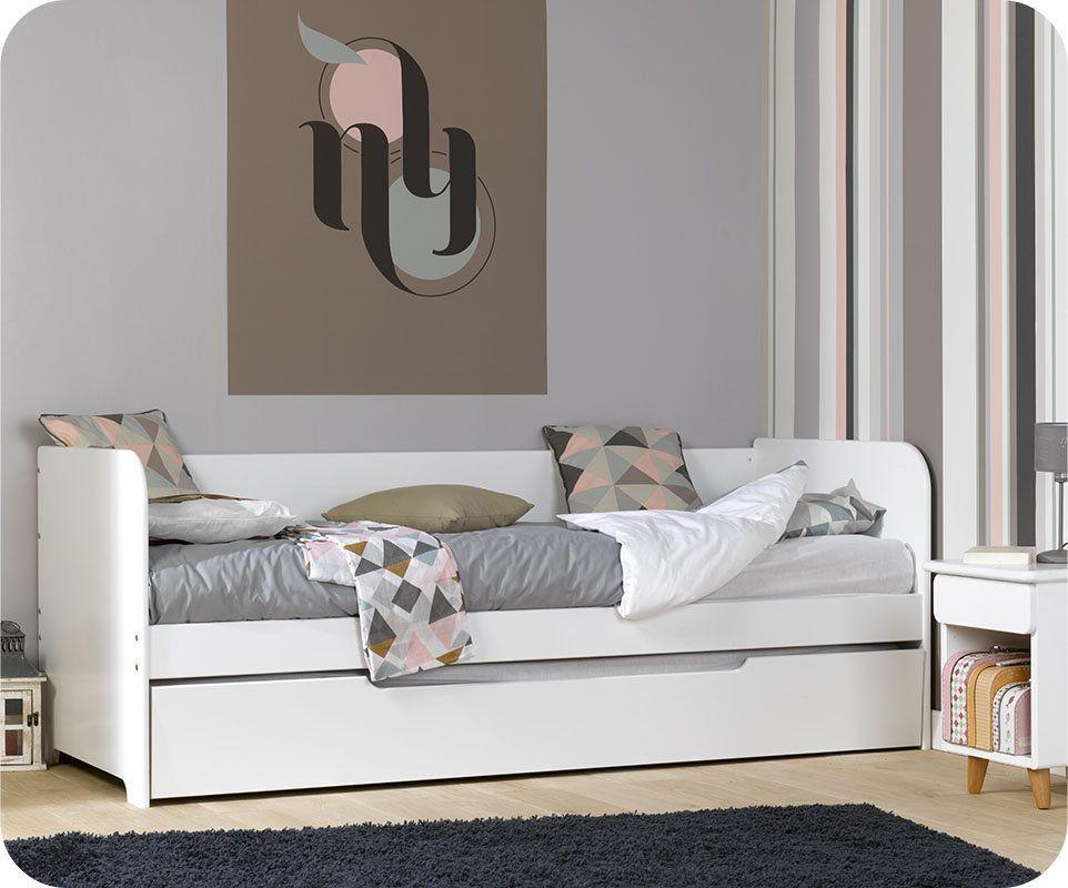 lit gigogne bali blanc 80x200 cm