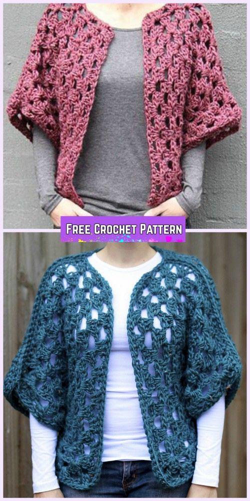 Crochet Granny Shrug Free Patterns for Ladies | Häkeln, Häkelmuster ...