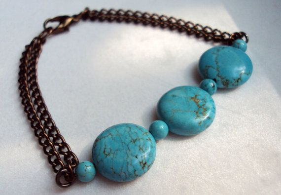 Turquoise Bead Bracelet on Double Bronze by TheOpenConnection, $12.00