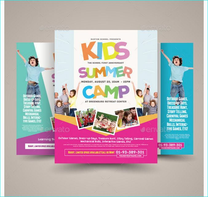 Kids Summer Camp Party Flyer Templates For Clubs Business