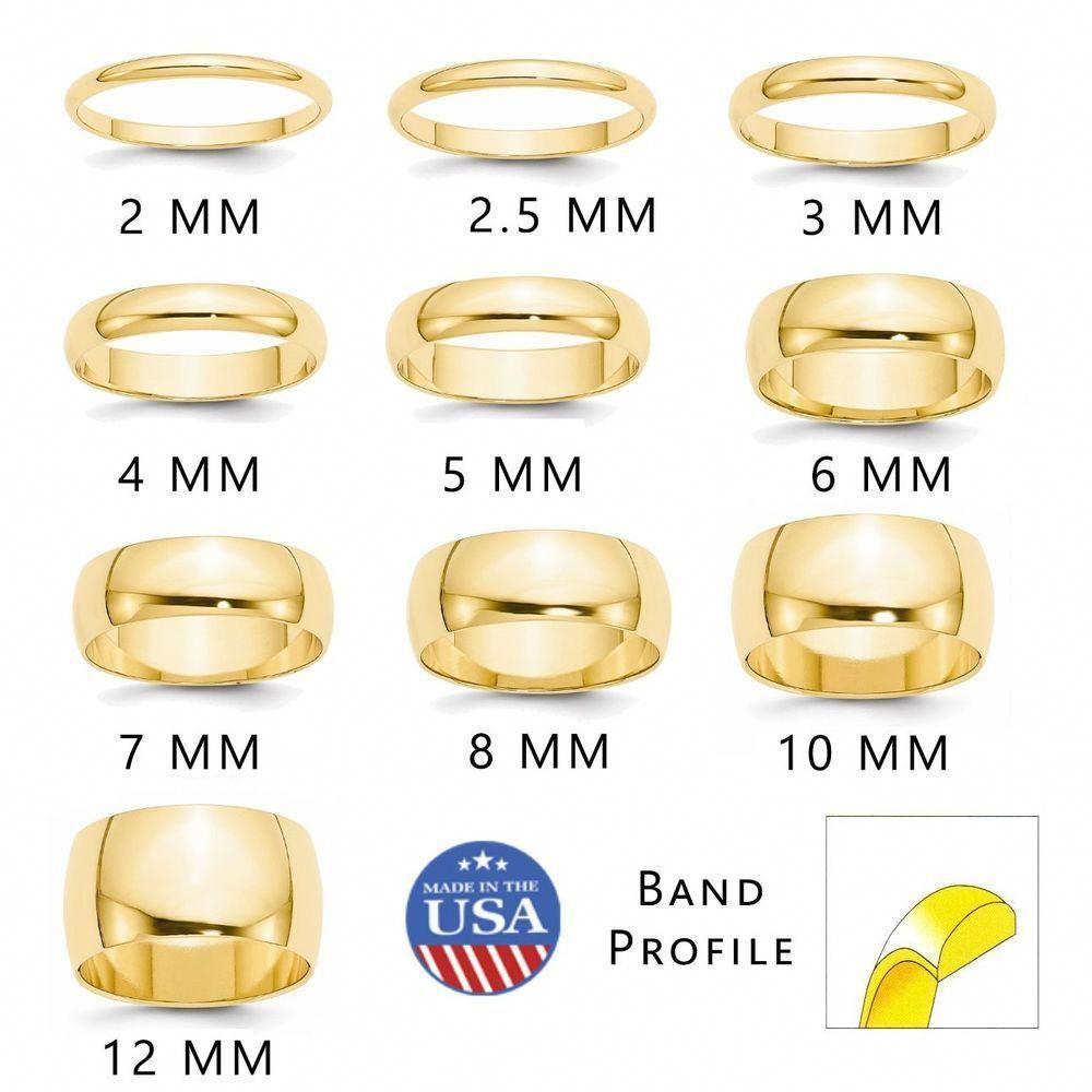 14k Yellow Gold 2mm Half Round Mens Womens Wedding Anniversary Band Size 10