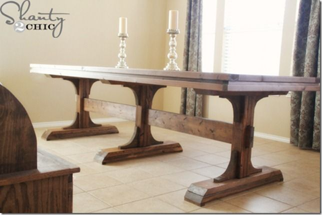 Diy Dining Table ~ Triple Pedestal Farmhouse  Diy Farmhouse Table Enchanting Dining Room Table For 2 Design Decoration