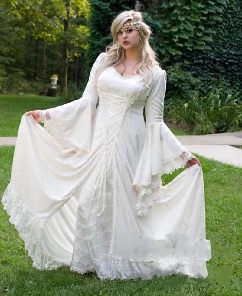 1dfb715ae50 New Gothic Medieval Wedding Dress White Lace Long Sleeve Bridal Gown Custom