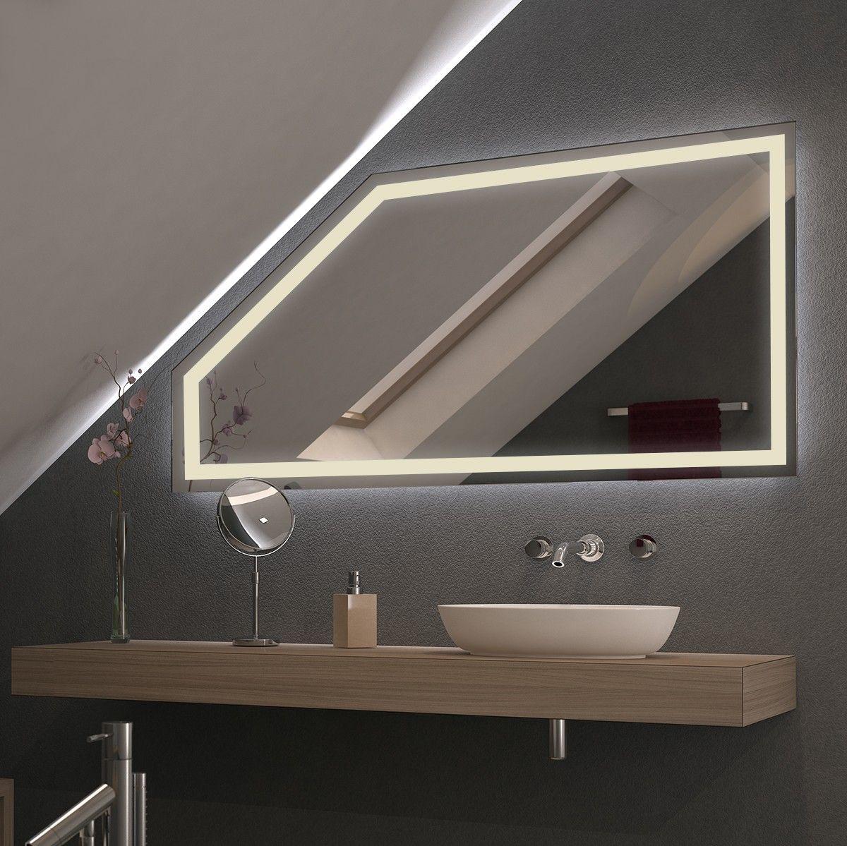Spiegel Fur Dachschragen Mit Led Beleuchtung Fiola Badezimmer Dachschrage Badezimmer Mit Schrage Beleuchtung Dachschrage