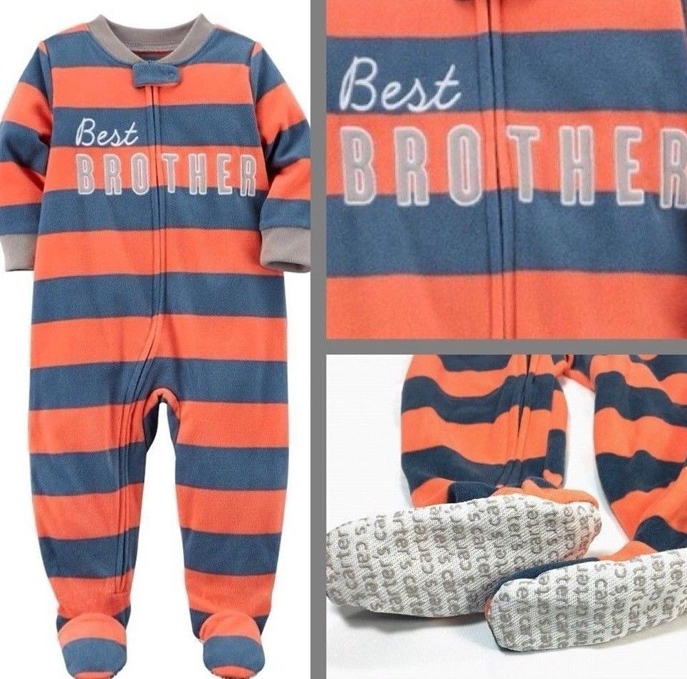 565d51b03 Carters Boys 18m 24m Footed Pajamas 1 pc Fleece Best Brother Striped Footie  Orange Blue New #ebay #fashion #shopping #style #forsale #Carters #OnePiece  ...