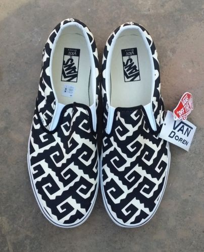 5f15387040 VANS-Slip-On-VAN-DOREN-BLACK-GEO-TRIBE-Canvas-SKATE-Shoes-Mens-SIZE-12-NEW
