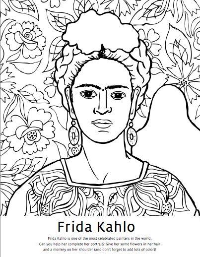 Diego Rivera Coloring Pages Frida Kahlo Coloring Pages Studio T Blog Art Art Handouts Art Worksheets