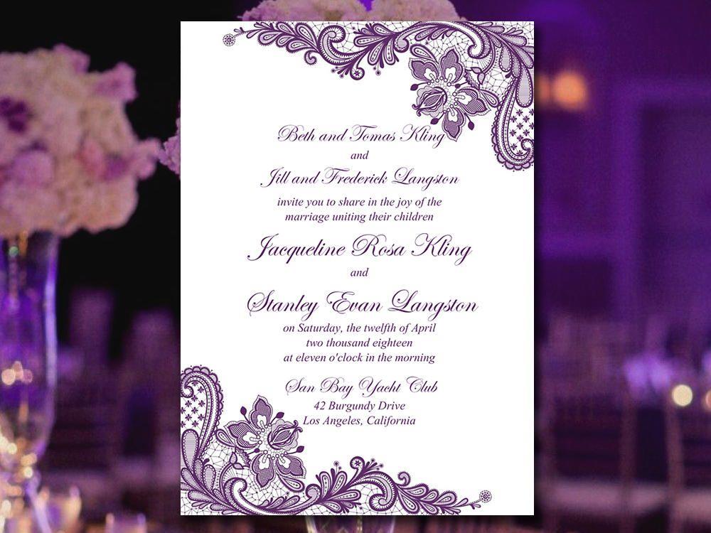 Wedding Invitation Template Printable Eggplant Purple Lace