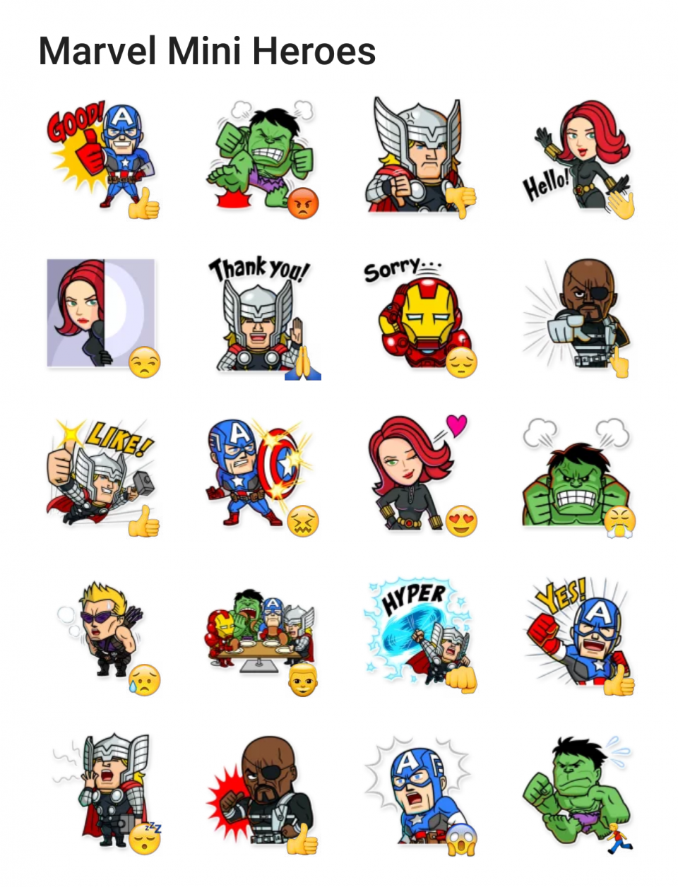 Marvel Mini Heroes Sticker Pack Marvel Hero And Thor