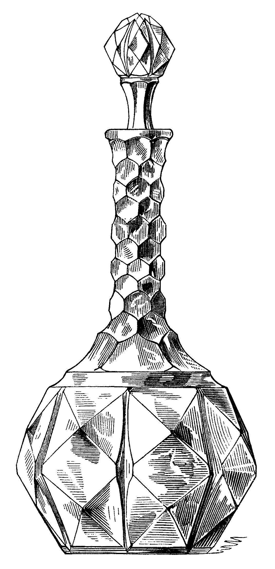 Vintage Wine Decanter Clip Art Antique Wine Bottle Black