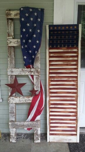 Diy American Flag Shutter Flag Decor July Crafts 4th Of July Decorations