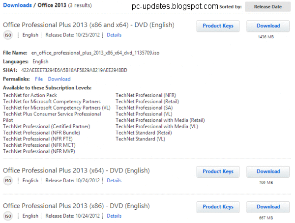 download product key office 2013