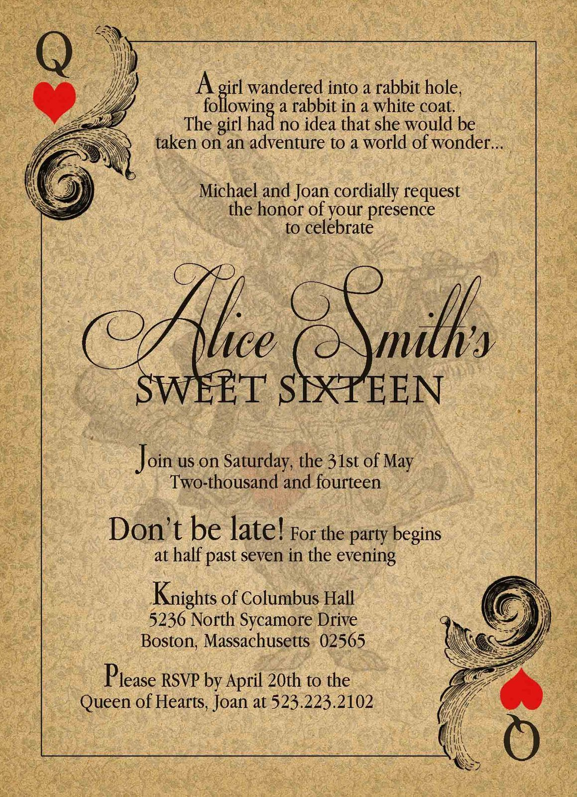 Alice in Wonderland Vintage Sweet Sixteen Birthday Invitation ...