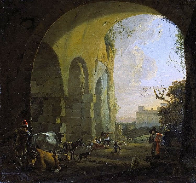 Asselijn, Jan -. Shepherds with livestock under an arch of the Coliseum in Rome, 1640-1652