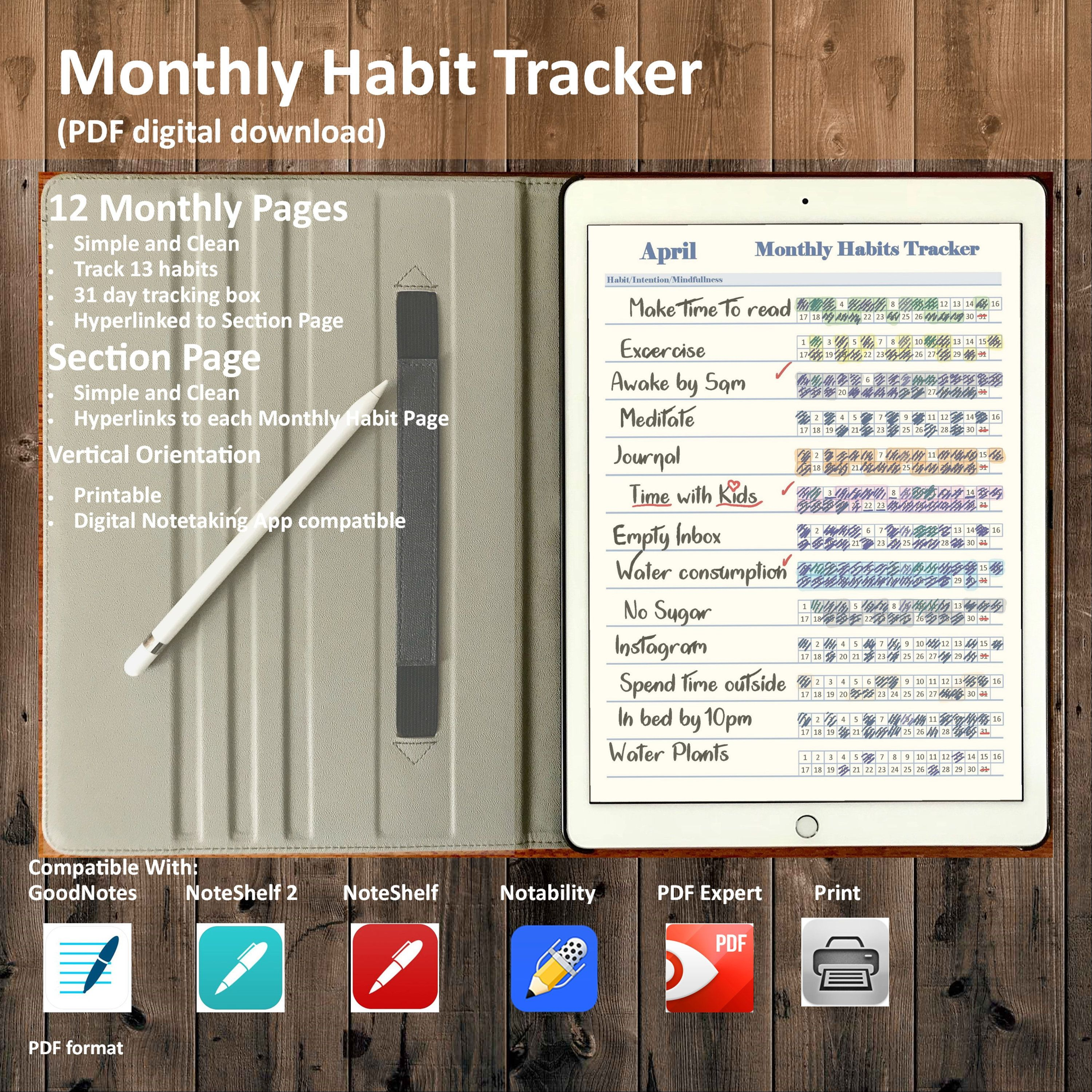 Monthly Habit Tracker, To do List Printable Insert To do