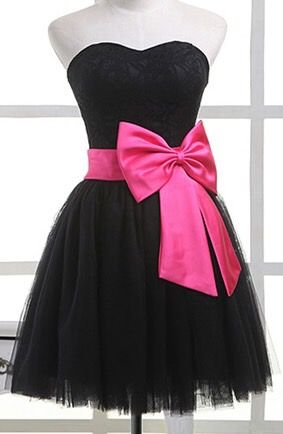 77abd068815 Cute Black Tulle Formal Dress With Bow