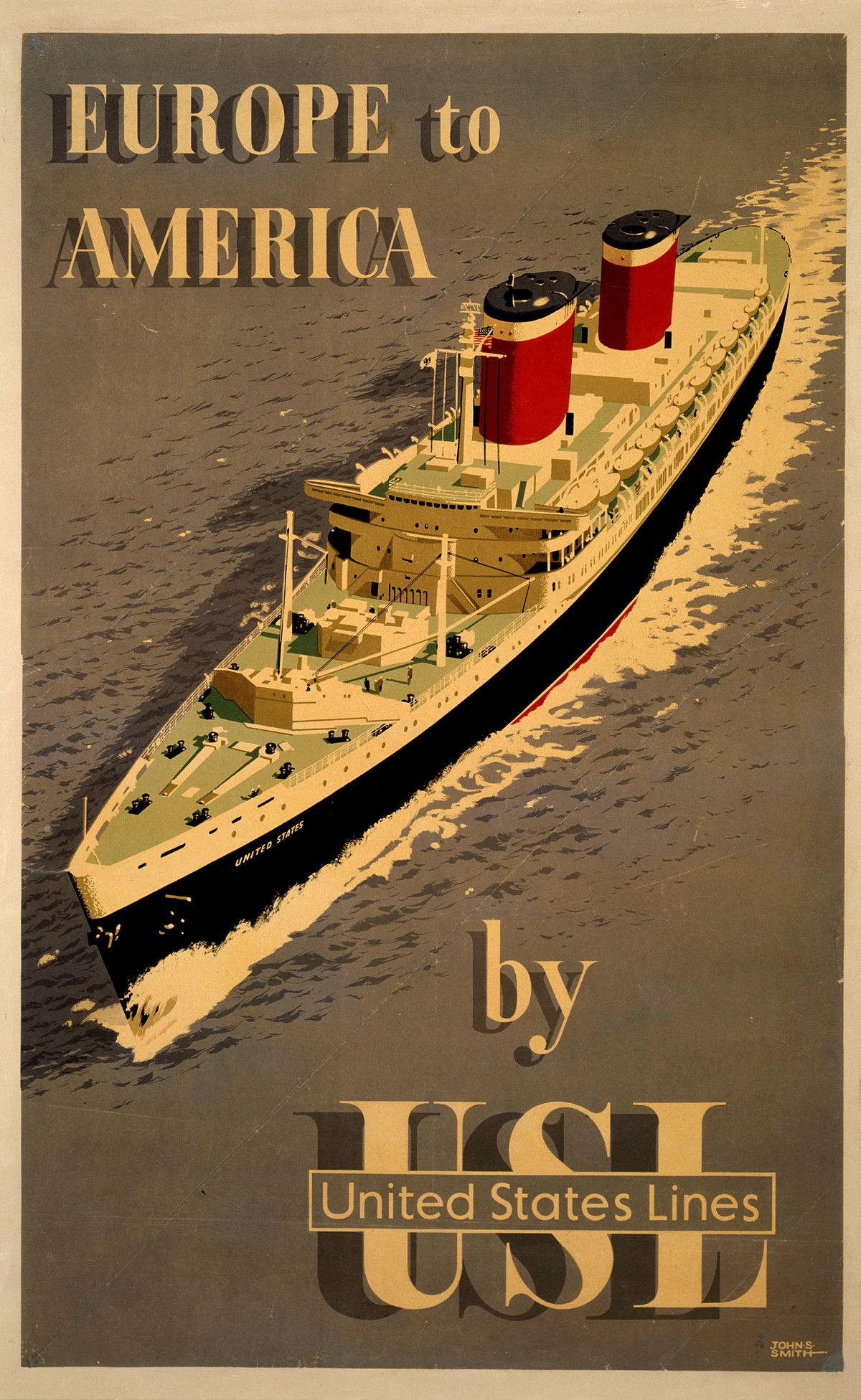 Europe To America By Usl Vintage Travel Poster Vintage Travel Posters Travel Posters Cruise Travel