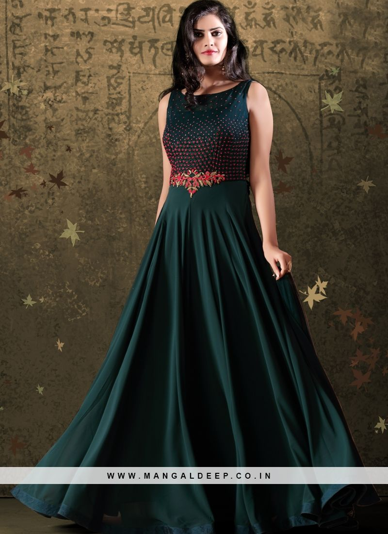 2c305bcc7 Buy teal floor touch partywear readymade anarkali dress at Lowest price-  Get latest Anarkali at Peachmode.