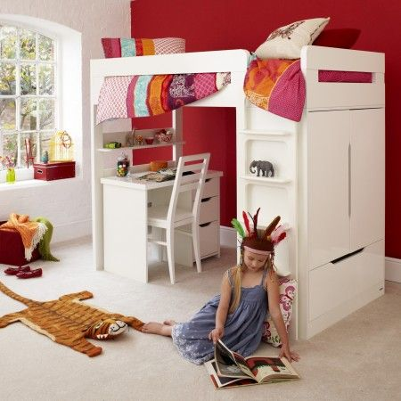Farringdon High Sleeper With Desk   White / Left Hand Side