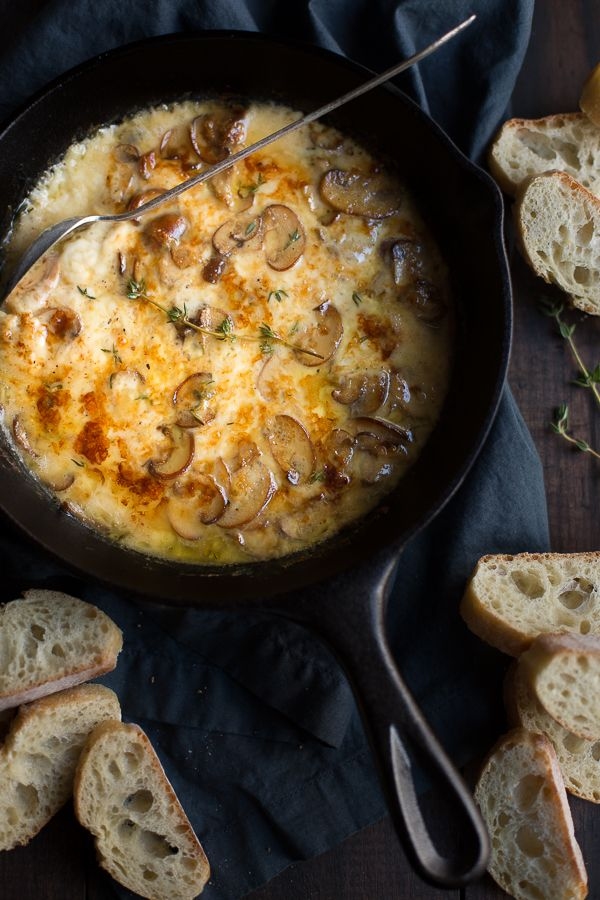 Baked Mushrooms and Fontina Dip - Taste Love and Nourish This decadent Baked Mushrooms and Fontina