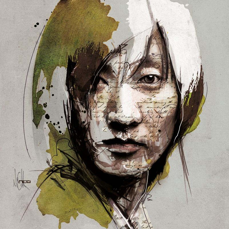 Mixed Media Portraits By Florian Nicolle Portrait Illustration