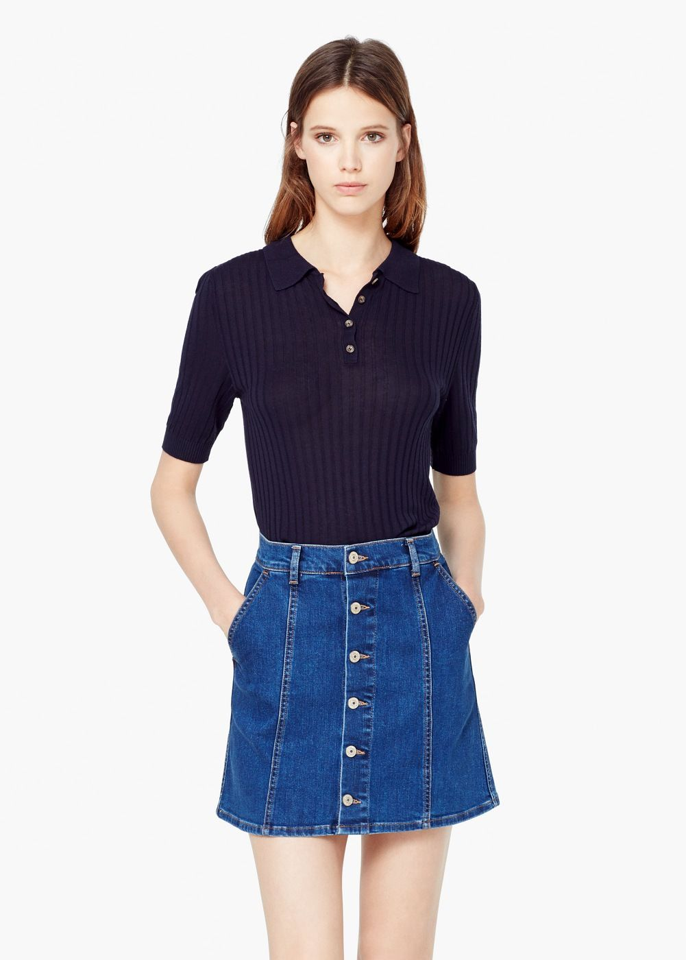 precio de fábrica 33dfb 78515 Buttoned denim skirt - Women | Denim | Faldas denim, Faldas ...