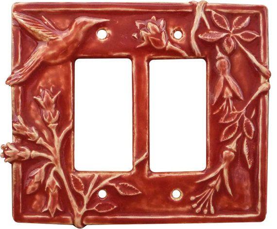 Hummingbird Ceramic Double Rocker Switch Plate by HoneybeeCeramics